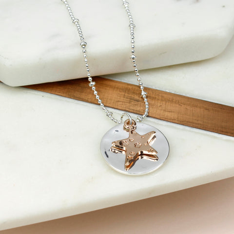 Silver Disc Rose Gold Star Necklace