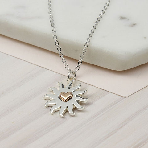 FIne chain silver plated necklace with a rose gold style heart in a silver plated sun burst