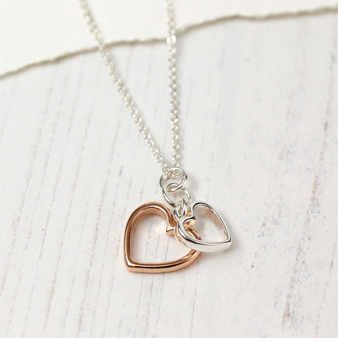 Silver plated fine chain necklace with double open hearts