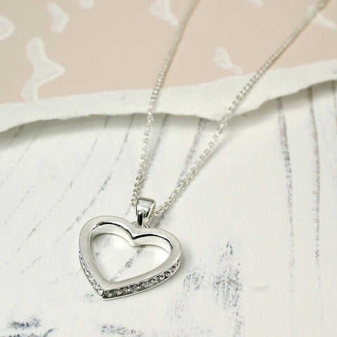 Inset Crystal Heart Necklace