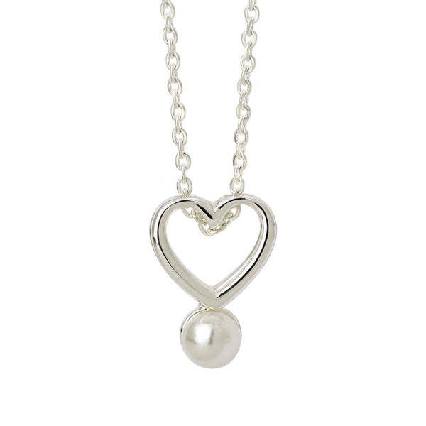 Fine chain silver plated necklace with a double layer open heart and a single white faux pearl
