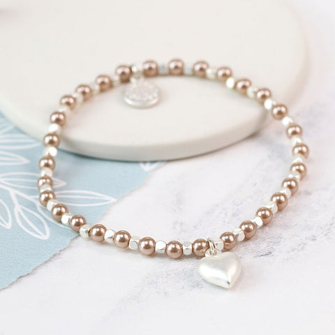 Silver Heart and Pink Pearl Bracelet