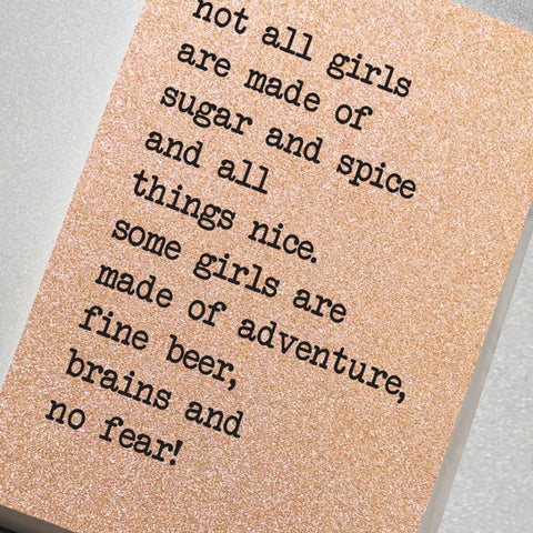 Not all girls are made of sugar and spice and all things nice rose gold A5 notebook