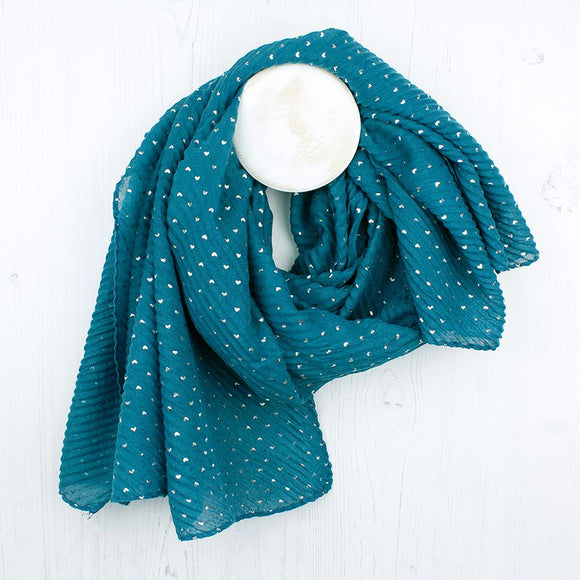 Pretty teal blue crinkle texture scarf with silver foil mini hearts detail