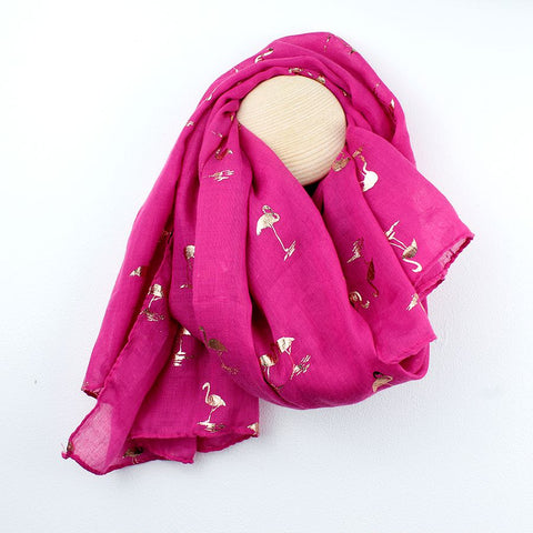 Vibrant pink scarf with metallic rose gold foil flamingo print
