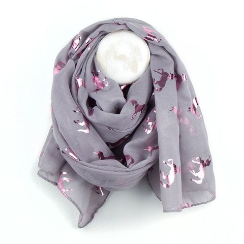 Gorgeous grey scarf with metallic pink foil unicorn print
