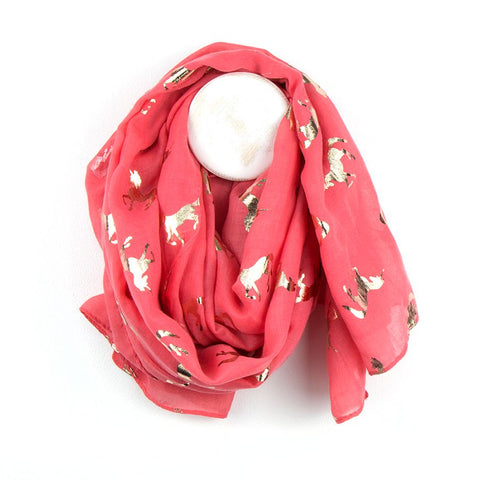 Gorgeous coral scarf with metallic rose gold foil unicorn print