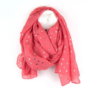 Gorgeous coral scarf with metallic rose gold foil mini star print