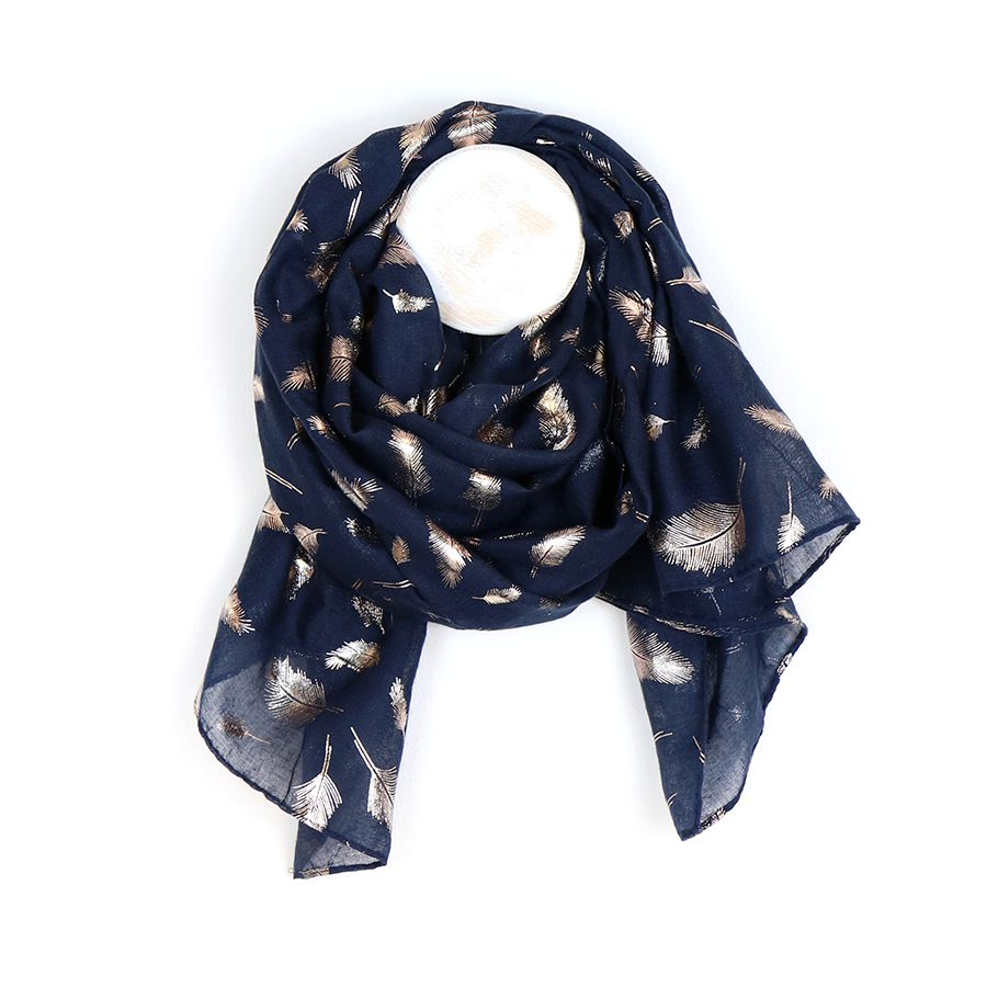 Delicate dark blue scarf with metallic rose gold foil feather print