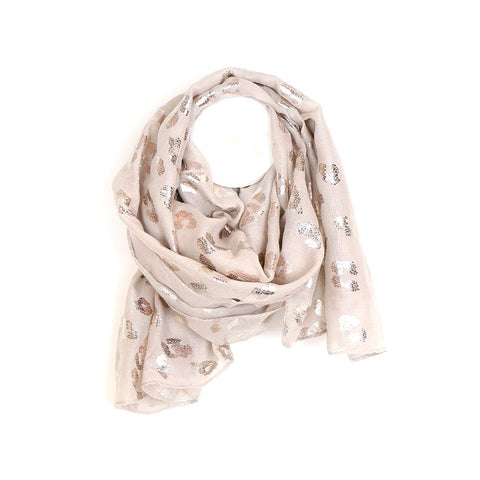 Fabulous natural coloured scarf with metallic rose gold foil leopard print