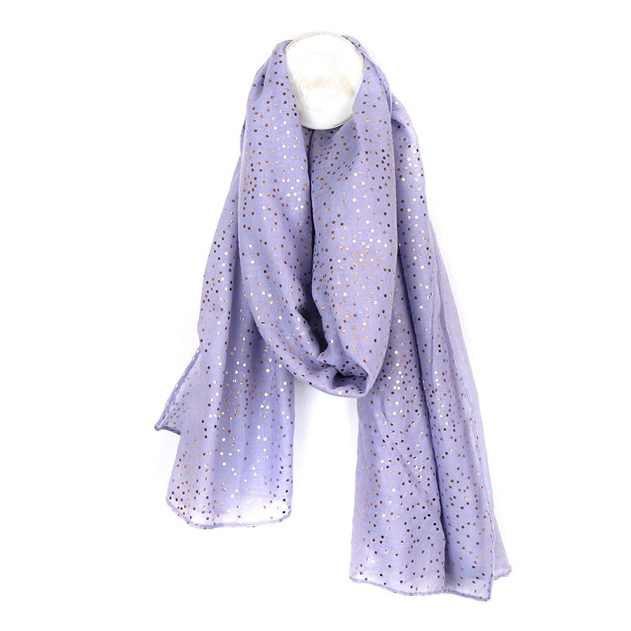 Lilac purple coloured scarf with metallic rose gold foil dotty spot print