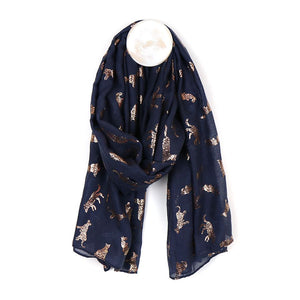 Dark blue grey scarf with metallic rose gold foil cat print