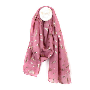 Pink Feather Foil Scarf