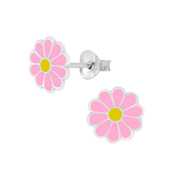 Pink Daisy Sterling Silver Earrings