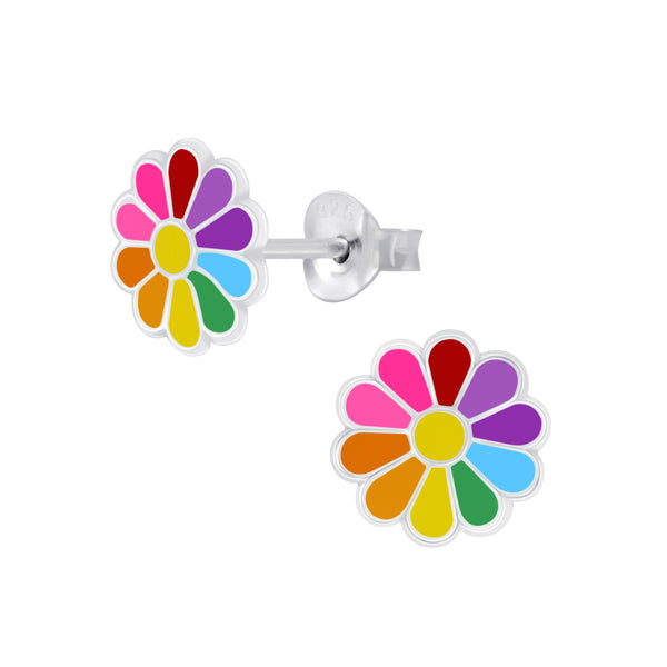 Rainbow Daisy Sterling Silver Earrings