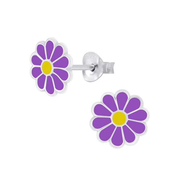 Purple Daisy Sterling Silver Earrings