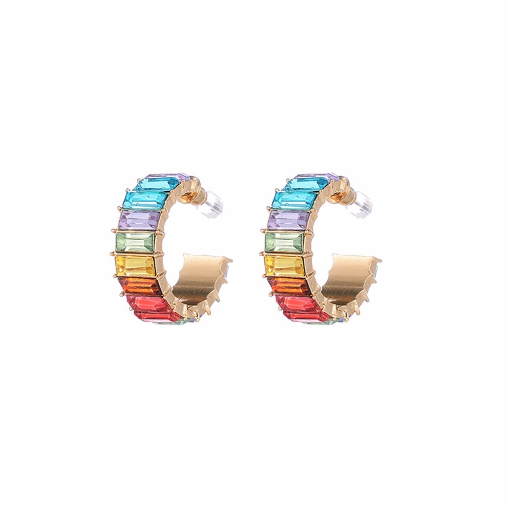 Dazzling rainbow gold tone hoop earrings with multi-colour diamante crystal inlays.