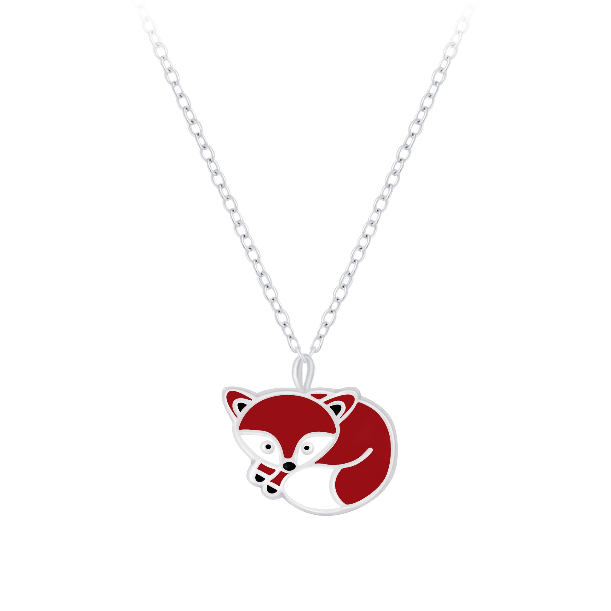This fantastic fox dainty pendant necklace features a miniature little fox curled up sleeping.
