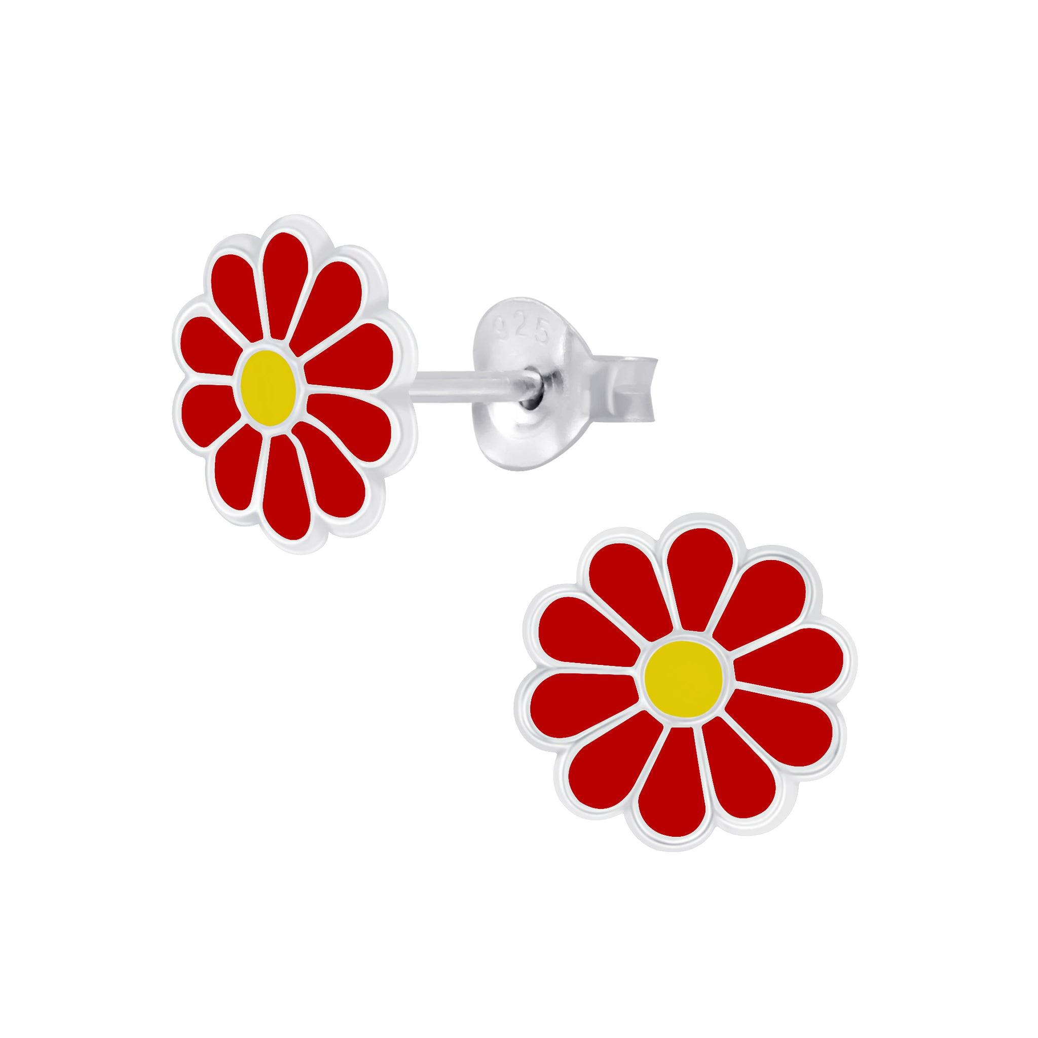Red Daisy Sterling Silver Earrings