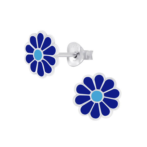Blue Daisy Sterling Silver Earrings