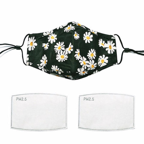 Black Daisy Cotton Face Mask