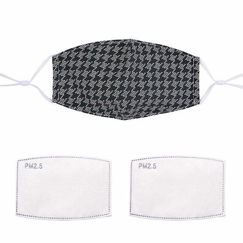 Black and White Houndstooth Cotton Face Mask