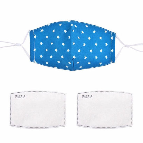 Fashionable face mask with a blue teal and white star printed fabric design.