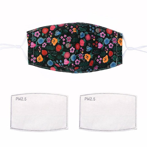 Fashionable face mask with a dark multi-floral printed fabric design.