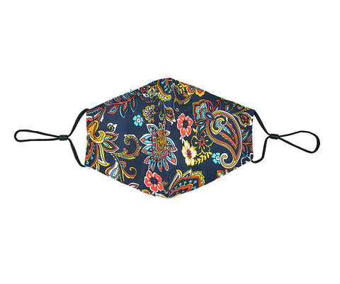 Fashionable face mask with a navy and vibrant floral printed fabric design.