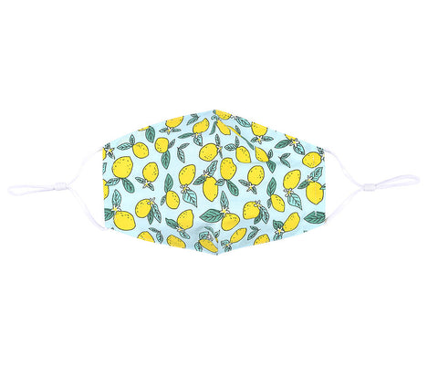 Fashionable face mask with a sunny lemon printed fabric design on a sky blue background.