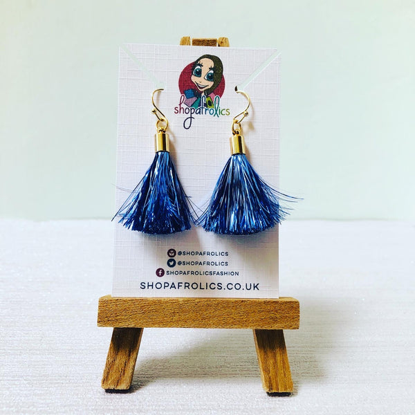 Powder Blue Tinsel Tassel Drop Earrings