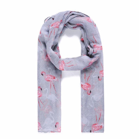 A lightweight grey scarf printed with a fabulous pink flamingo design by Catherine Lansfield.