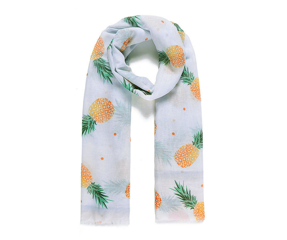 Lovely pineapple printed scarf on a soft white fabric.