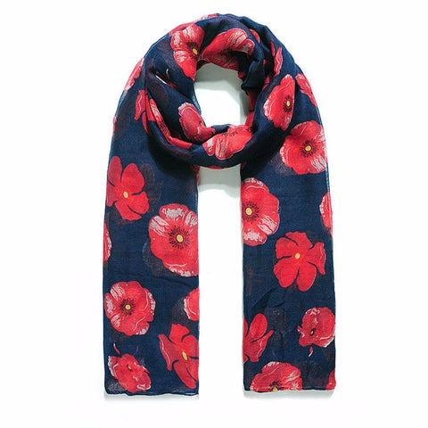 A beautiful navy scarf printed with a vibrant red poppy design.