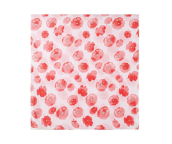 Detail print of A beautiful white scarf printed with a vibrant red poppy design.