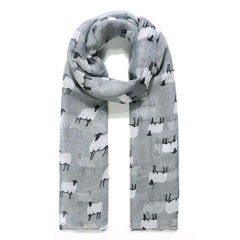 Baa Baa White Sheep Prrinted Scarf in Grey