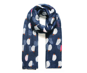 Navy scarf with white hedgehogs