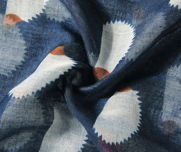 Close up of navy hedgehog scarf