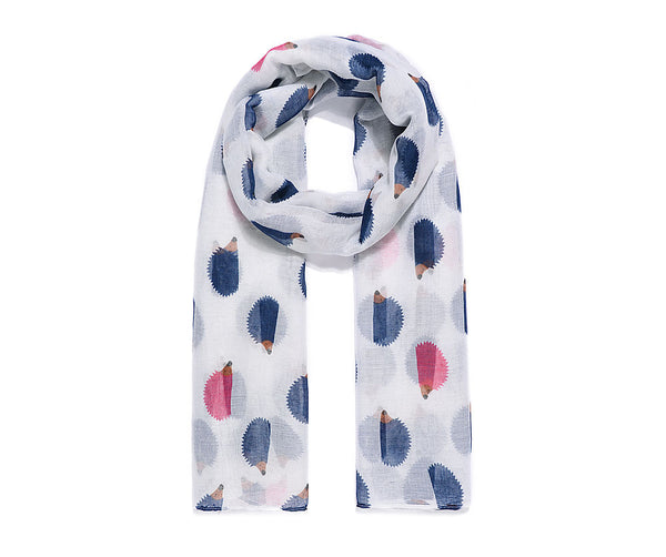 White scarf with navy and pink hedgehogs