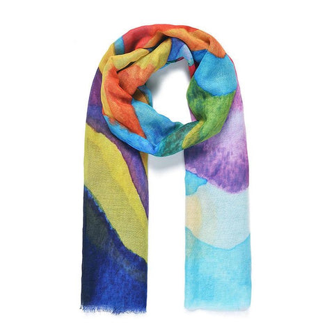 Add an injection of colour to your scarf collection with these multi-coloured rainbow mountain print.