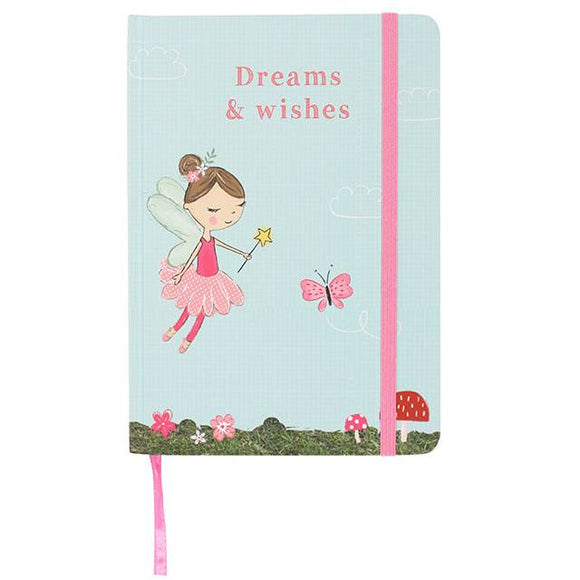 A5 hard cover notebook in blue with fairy design and slogan: Dreams and Wishes