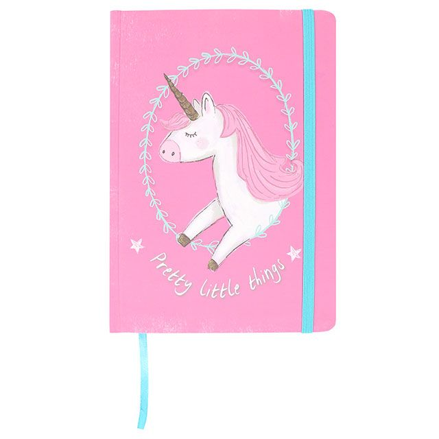 A5 hard cover notebook in pink with unicorn design and slogan: Pretty Little Things