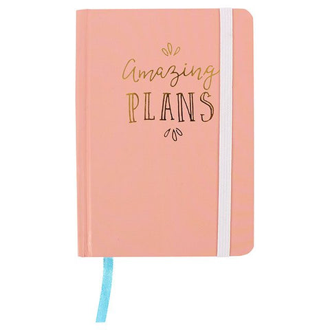 A6 hard cover notebook in pink with phrase: Amazing Plans