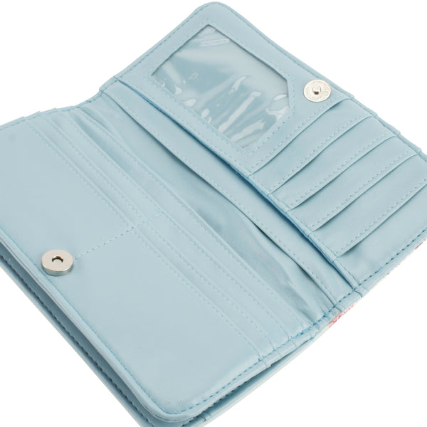 Blue purse interior with card slots and zipped coin area