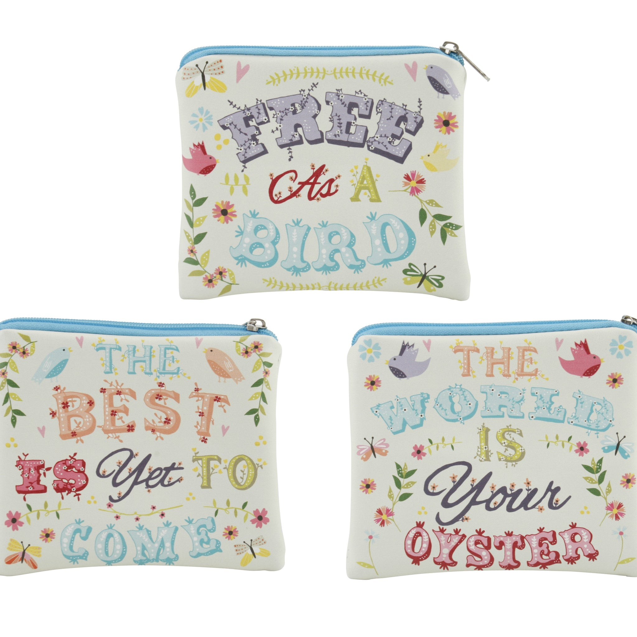 Pretty coin purse with fun floral and bird pastel design with choice of slogans