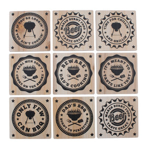 Wooden BBQ, Beer, Dad and Cooking Coasters in a choice of slogans