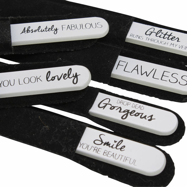 Glass nail file in black soft velvet pouch with choice of slogans