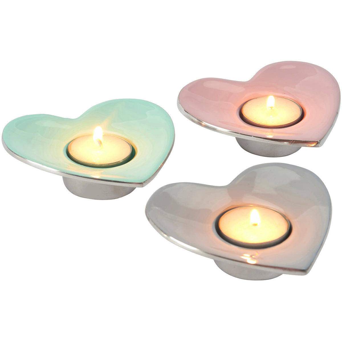 Pretty aluminium candle tea light holders in choice of colours - pink, blue or green