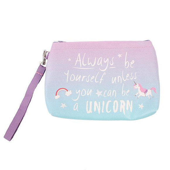 Blue and purple make up bag with unicorn image and slogan: Always be yourself unless you can be a unicorn
