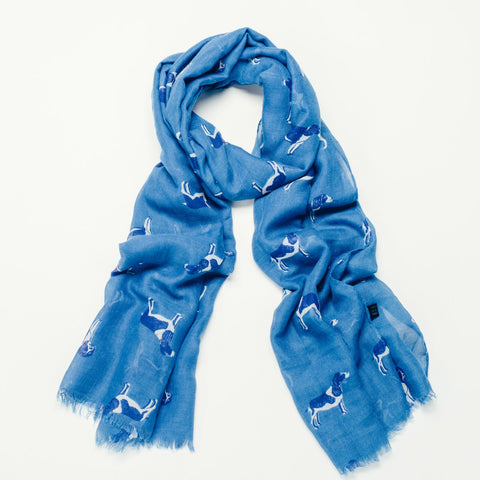 Pretty blue printed scarf with dog design